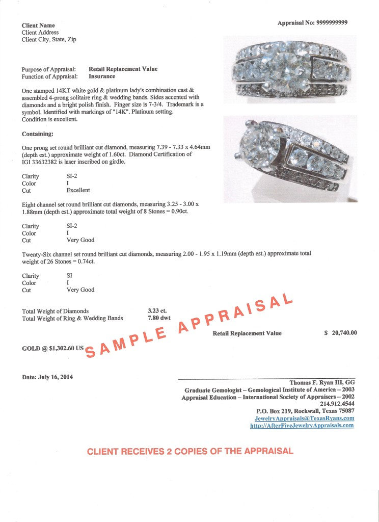 Sample jewelry and diamond appraisal for Jewelry appraisal form template